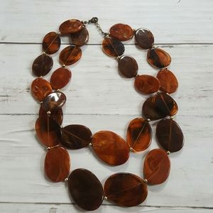 Vintage plastic amber double strand necklace